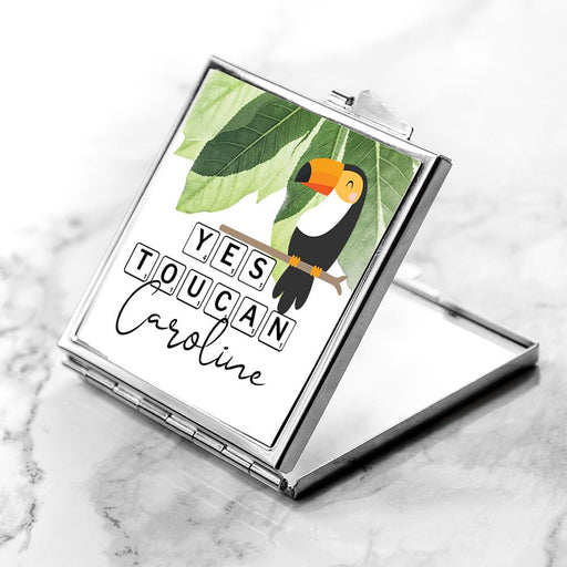 Personalised Yes Toucan Square Compact Mirror
