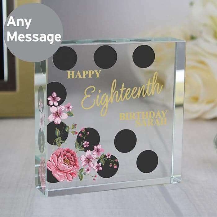 Personalised Floral Dot Large Crystal Token from Pukkagifts.uk
