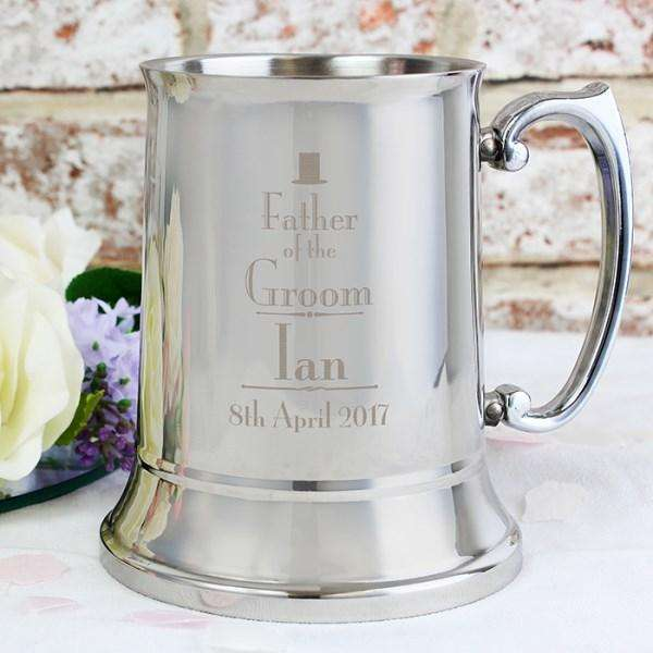 Personalised Decorative Wedding Father of the Groom Stainless Steel Tankard from Pukkagifts.uk