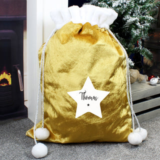 Personalised Star Luxury Pom Pom Gold Christmas Sack