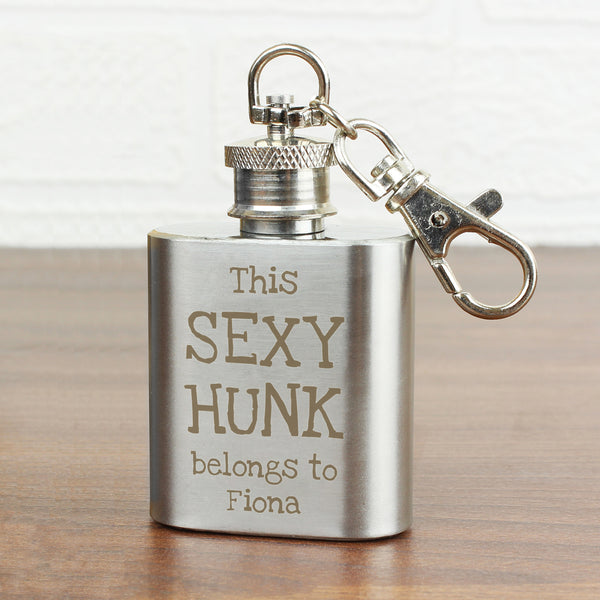 Personalised Sexy Hunk 1oz Hip Flask Keyring