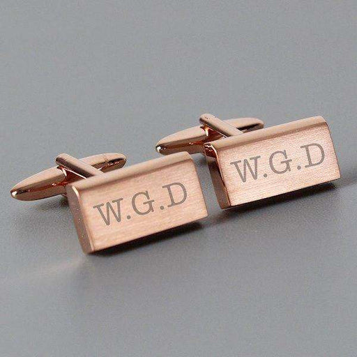 Personalised Classic Rose Gold Plated Cufflinks from Pukkagifts.uk