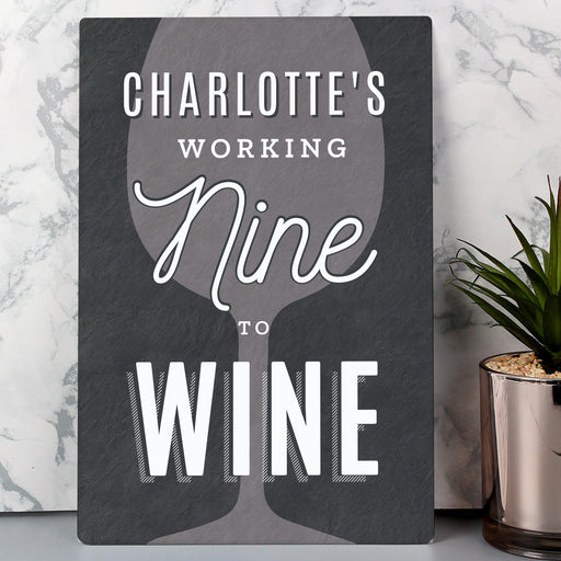 Personalised Working Nine to Wine Metal Sign