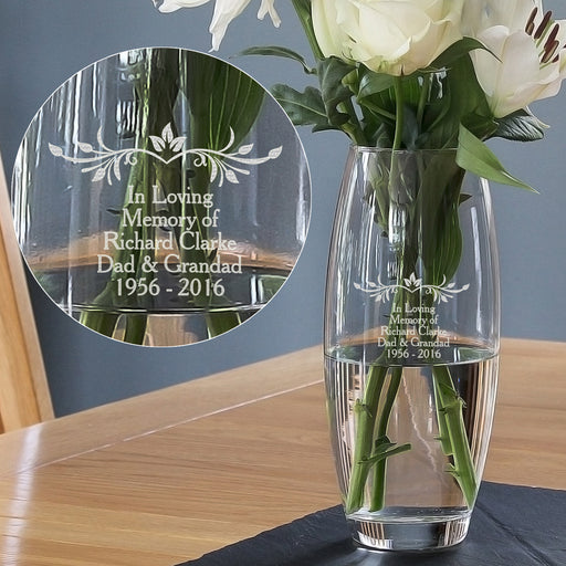 Personalised Sentiments Glass Vase - Free UK Delivery