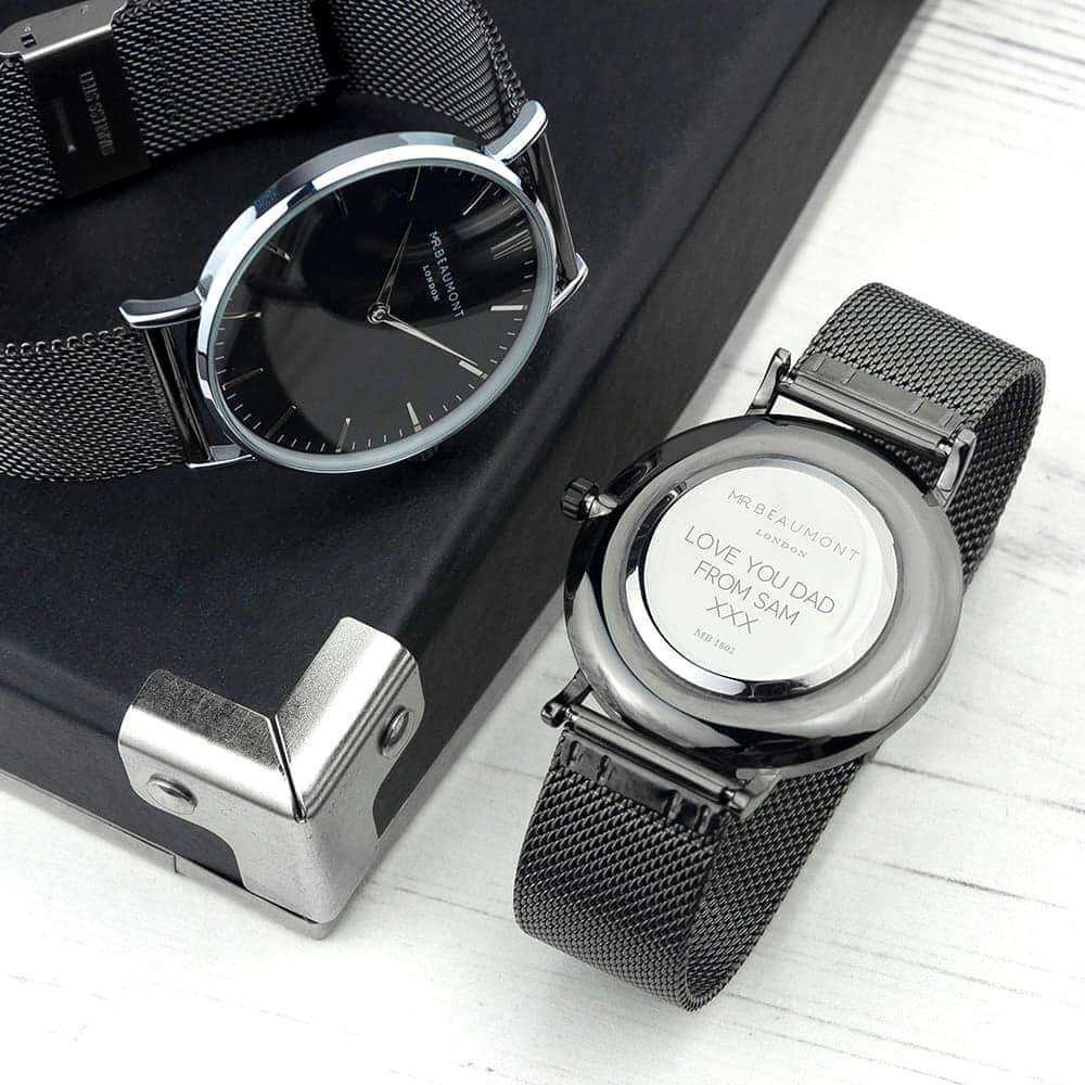 Engraved Men's Metallic Charcoal Grey Mr Beaumont Watch from Pukkagifts.uk