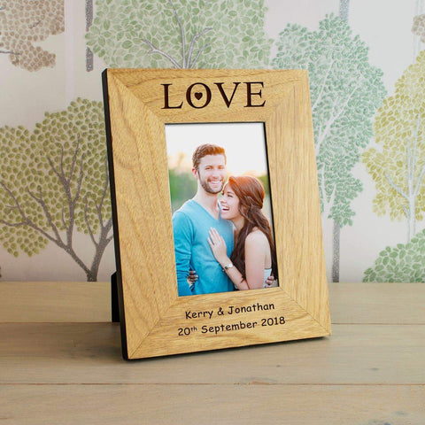 Personalised Love Photo Frame Oak Wood | Valentines Photo Frame Gift