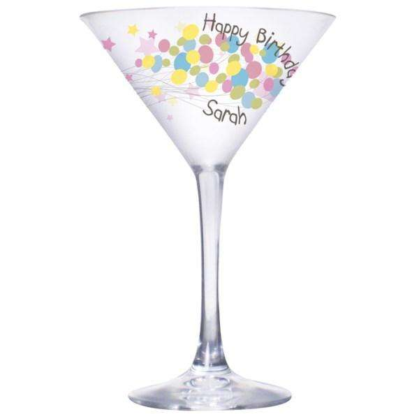 Personalised Birthday Balloon Cocktail Glass from Pukkagifts.uk