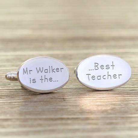 Engraved Best Teacher Cufflinks from Pukkagifts.uk