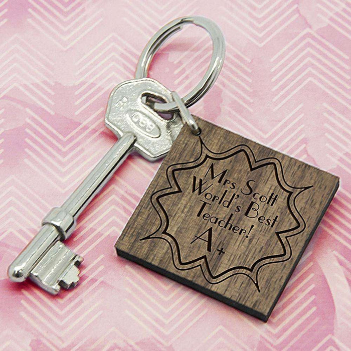Personalised A+ Teacher Square Keyring from Pukkagifts.uk