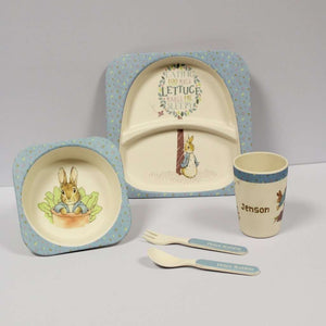 Personalised Peter Rabbit Bamboo Breakfast Set from Pukkagifts.uk