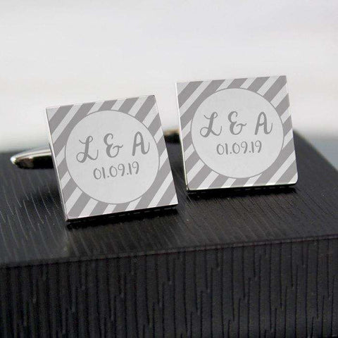 Personalised Stripes Square Cufflinks from Pukkagifts.uk