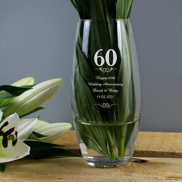 Personalised 60th Anniversary Bullet Vase