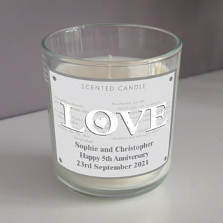 Personalised LOVE Scented Jar Candle
