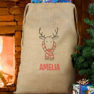 Personalised Retro Reindeer Hessian Christmas Sack from Pukkagifts.uk