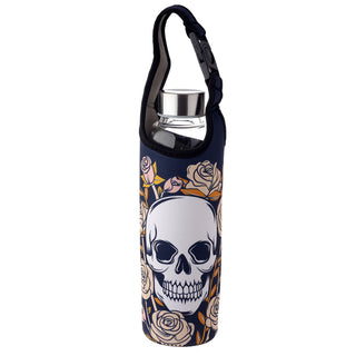 Skulls & Roses Reusable Glass Water Bottle with Protective Neoprene Sleeve with Strap