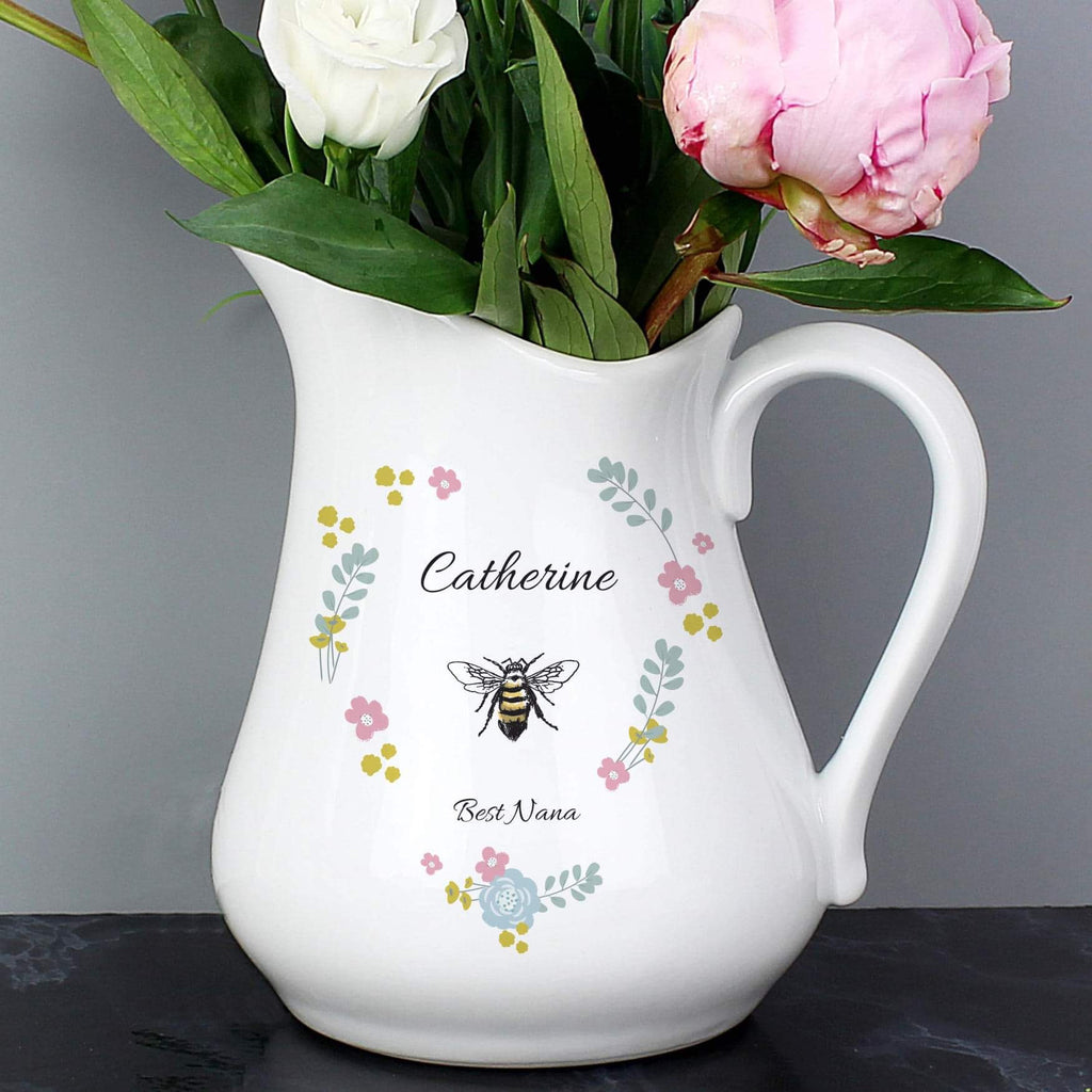 Personalised Bee Happy Ceramic Flower Jug From Pukkagifts.uk
