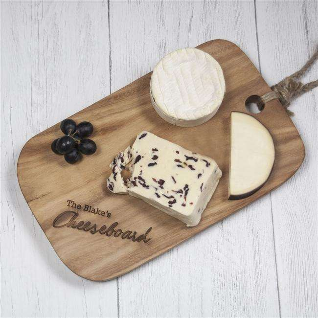 Personalised Solid Acacia Wood Cheeseboard from Pukkagifts.uk
