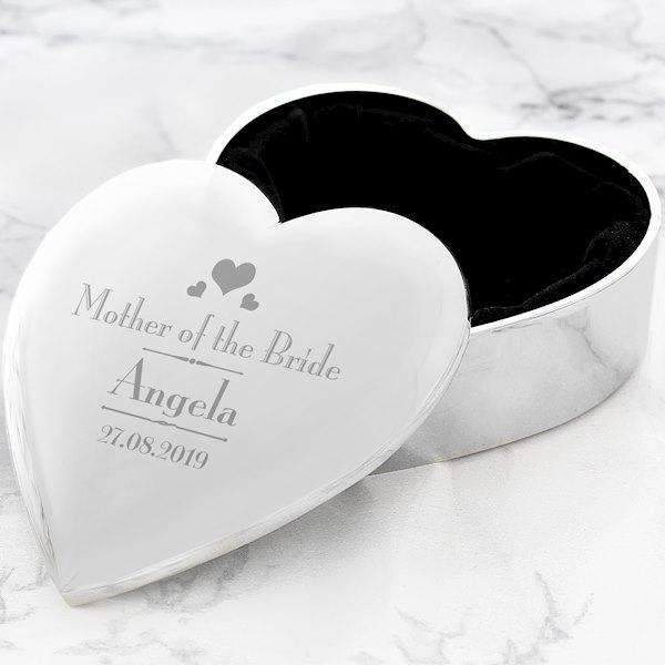 Personalised Decorative Wedding Mother of the Bride Heart Trinket Box from Pukkagifts.uk
