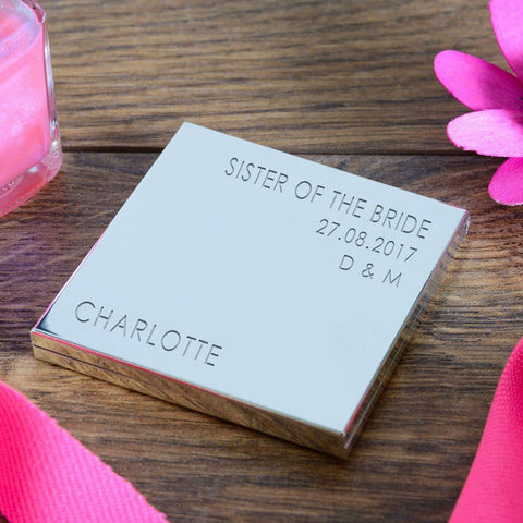 Personalised Sister Of The Bride Square Compact Mirror