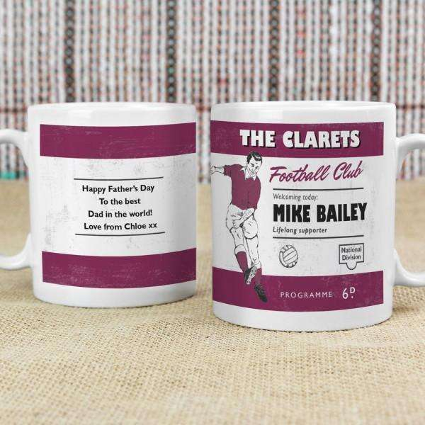 Personalised Vintage Football Claret Supporter's Mug from Pukkagifts.uk