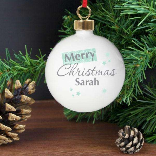 Personalised Merry Christmas Snowflake Bauble from Pukkagifts.uk
