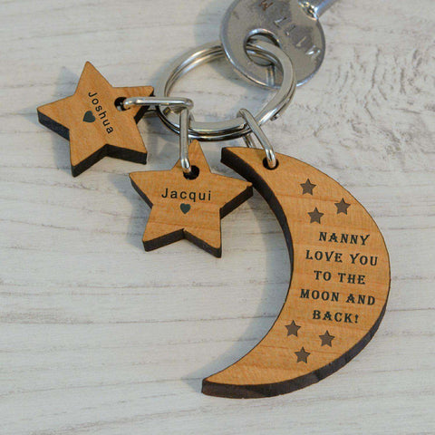 Love You To The Moon And Back Wooden Keyring Personalised from Pukkagifts.uk