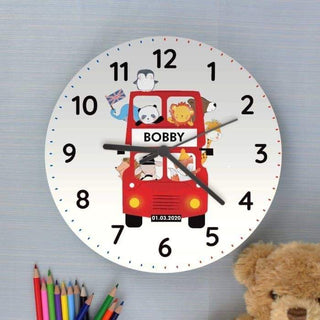 Personalised London Animal Bus Wooden Clock from Pukkagifts.uk