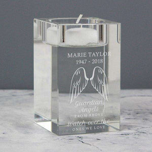 Personalised Guardian Angel Wings Glass Tea Light Holder from Pukkagifts.uk