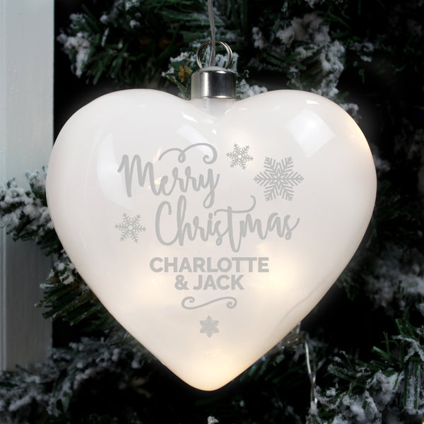 Personalised Merry Christmas LED Hanging Glass Heart Decoration