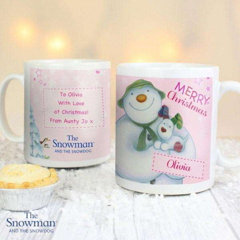 Personalised The Snowman and the Snowdog Pink Mug from Pukkagifts.uk