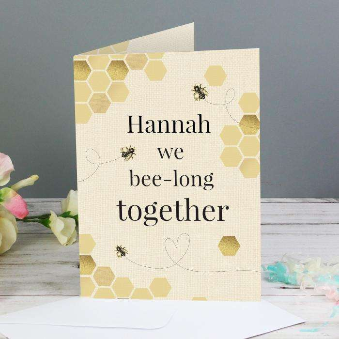 Personalised We Bee-Long Together Card from Pukkagifts.uk