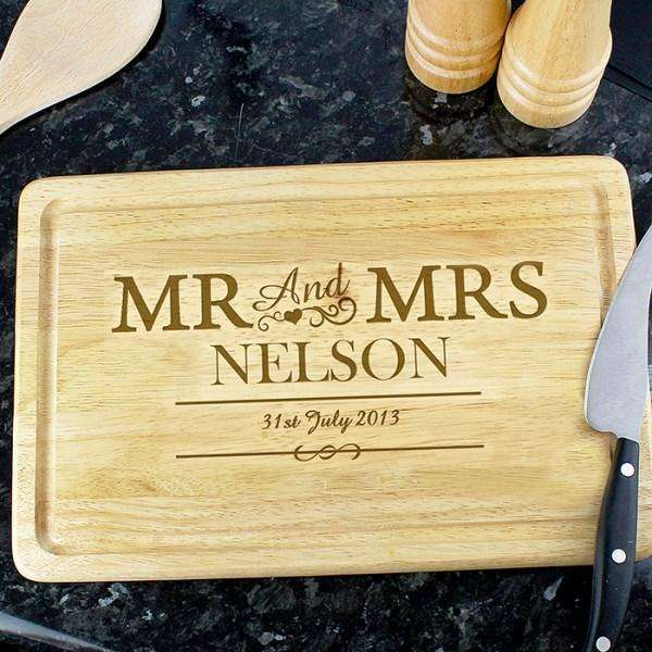 Engraved Mr & Mrs Rectangle Chopping Board from Pukkagifts.uk