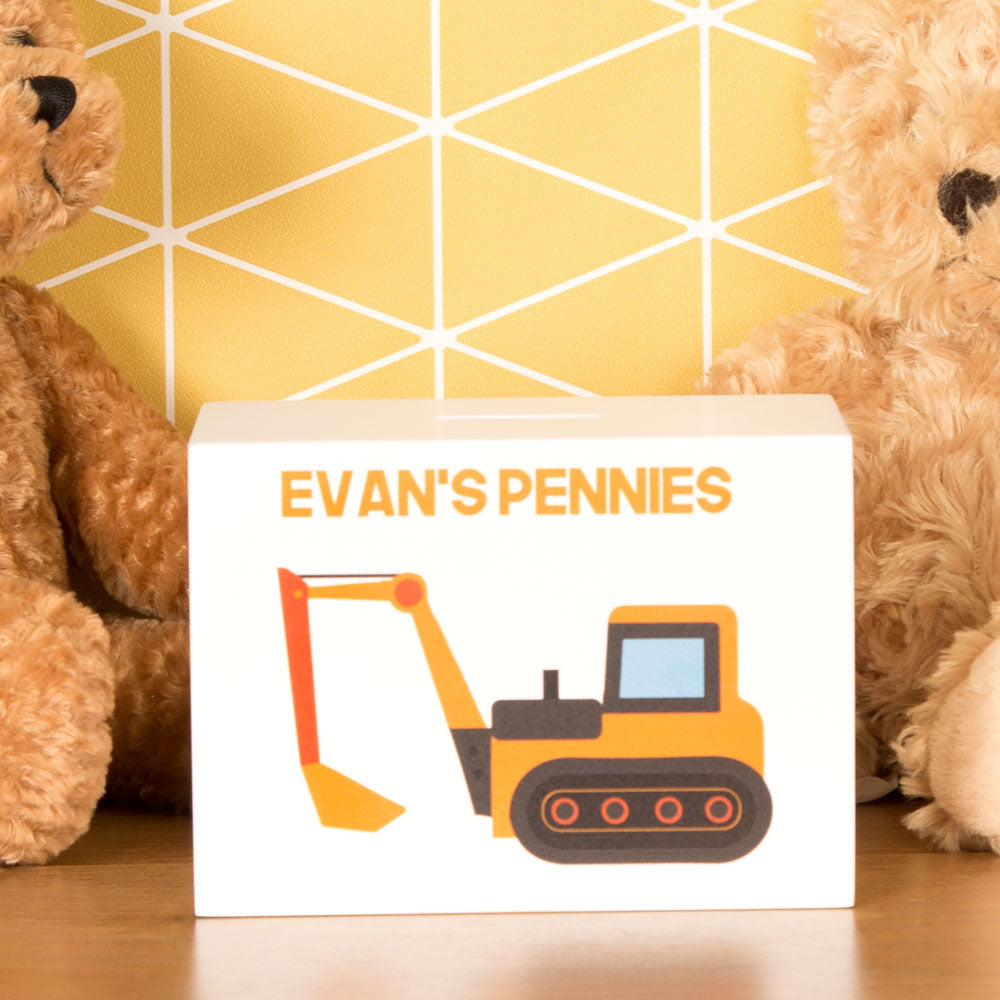 Personalised Digger Wooden Money Box from Pukkagifts.uk