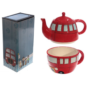 Routemaster London Red Bus Teapot and Cup Set for 1