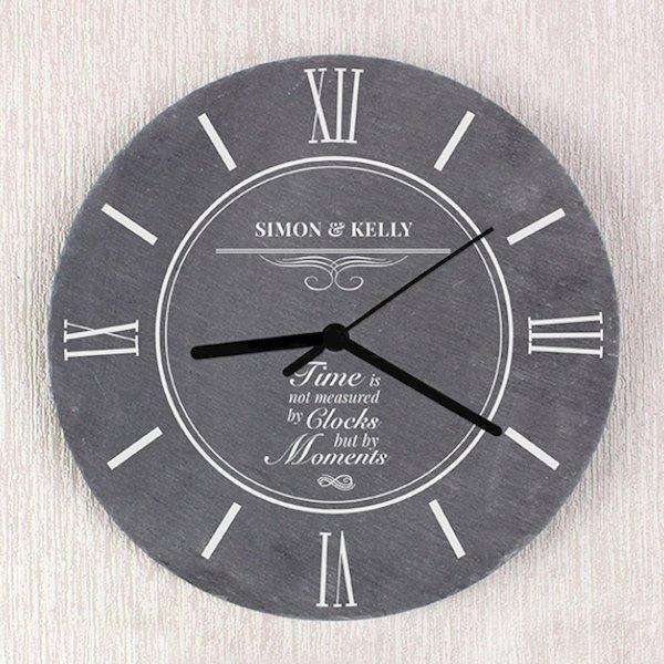 Personalised Slate Time Is Not Measured By Clocks But By Moments Clock from Pukkagifts.uk