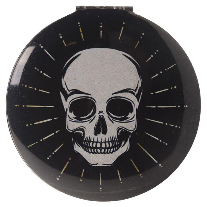Skull and Rose Design Compact Mirror