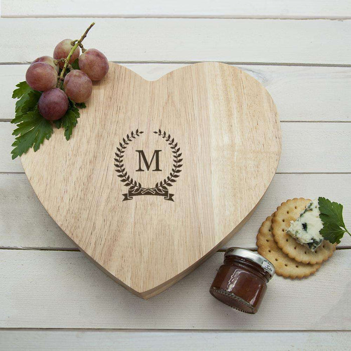 Personalised Monogrammed Romantic Wreath Heart Cheese Board from Pukkagifts.uk