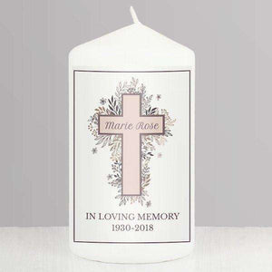 Personalised Floral Cross Pillar Candle from Pukkagifts.uk