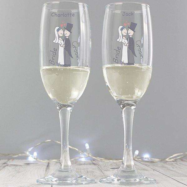 Personalised Cartoon Wedding Couples Pair of Flutes with Gift Box from Pukkagifts.uk