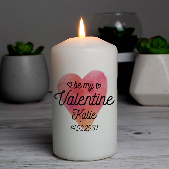 Personalised Be My Valentine Pillar Candle