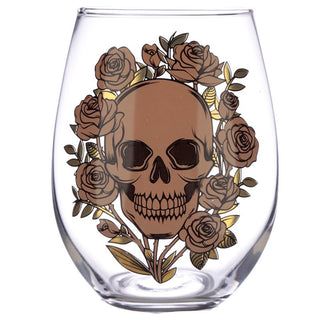 Skulls and Roses Set of 2 Glass Tumblers