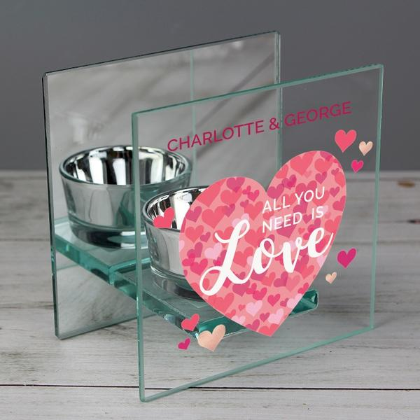 Personalised All You Need is Love Confetti Hearts Glass Tea Light Candle Holder - www.pukkagifts.uk
