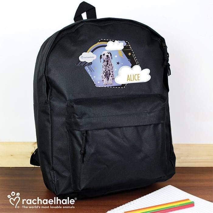 Personalised Rachael Hale Dalmatian Black Backpack from Pukkagifts.uk