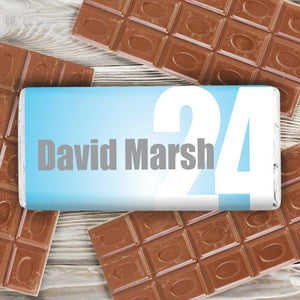 Personalised Blue Birthday Age Milk Chocolate Bar from Pukkagifts.uk