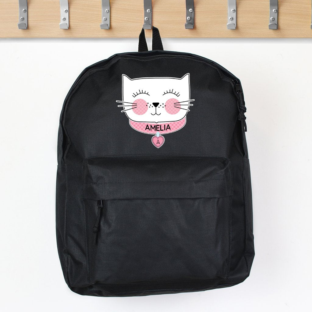 Personalised Cute Cat Black Backpack