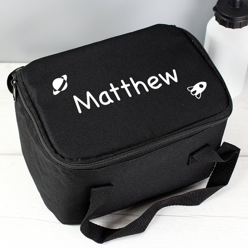 Personalised White Rocket Black Lunch Bag