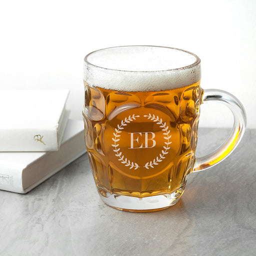 Personalised Wreath Mongorammed Dimpled Beer Glass