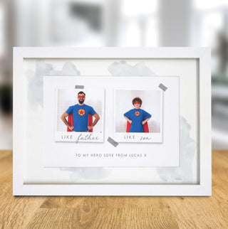 Personalised Like Father Like Son Polaroid A4 Framed Print