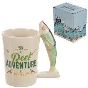 Reel Adventure Fishing Shaped Handle Mug with Fish and Hook