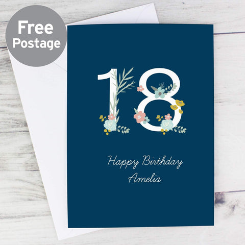 Personalised Floral Age Birthday Card From Pukkagifts.uk